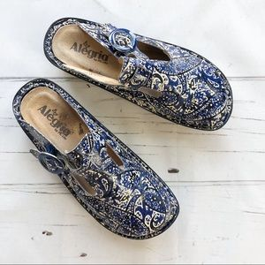 Alegria Leather Paisley Blue Mary Jane mules